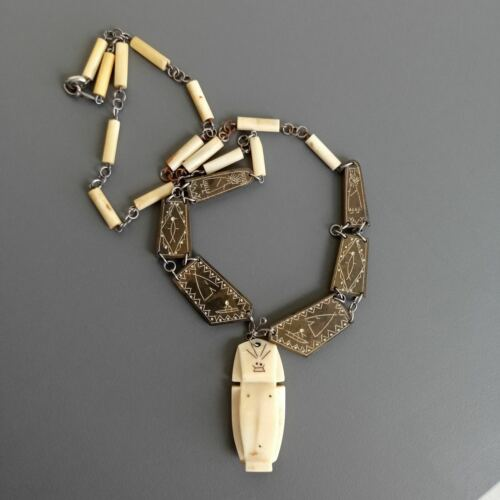 Vintage Eskimo Carved Billiken Necklace Pendant Charm Inuit culture