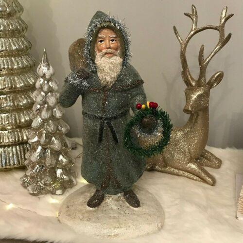 Vintage Reproduction Nostalgia Tinsel Trim Wreath Santa Belsnickle Style Figure