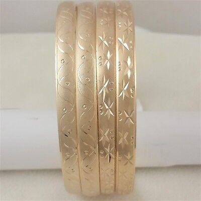 2x Real 14k Gold Filled Hugs Kisses Slip-on Seamless Diamond Cut Bangle Bracelet