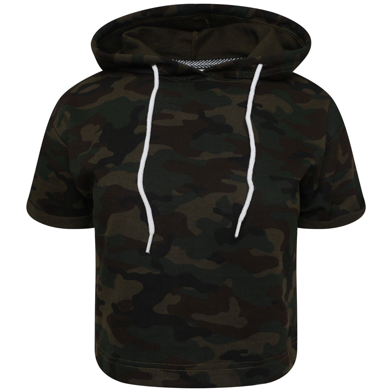 Womens Ladies Short Sleeve Hoodie Army Camouflage Hooded Crop Tops Gym  Outerwear dfb6f3a48