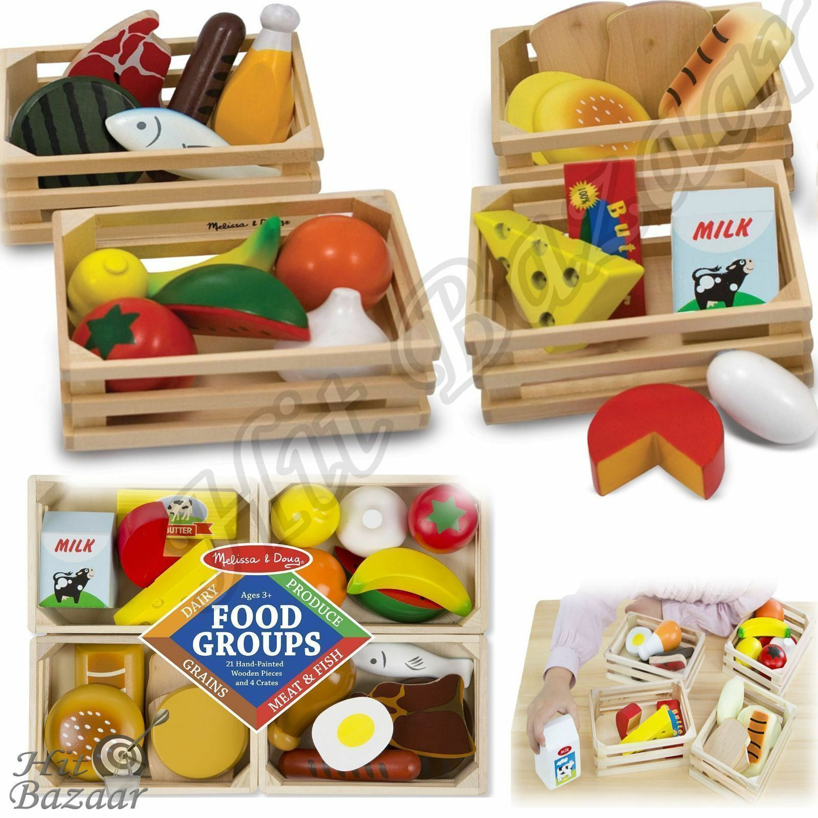 Kitchen Play Food Set Lot Dishes Group Wooden Toy Preschool