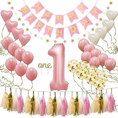 First Birthday Decorations for Girl | 1st Baby Girl Number 1 Balloon, Happy