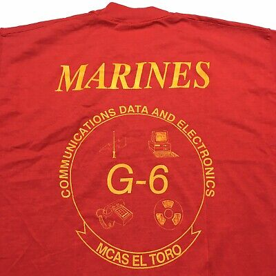 Vintage Marines Corps El Toro Navy Electronics Men's Red Single Stitch T Shirt
