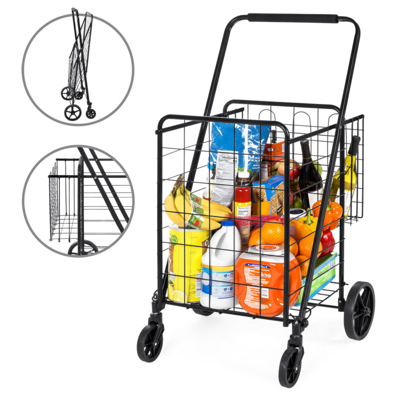 BCP Folding Steel Storage Utility Shopping Cart w/ Bonus Basket, Swivel Wheels