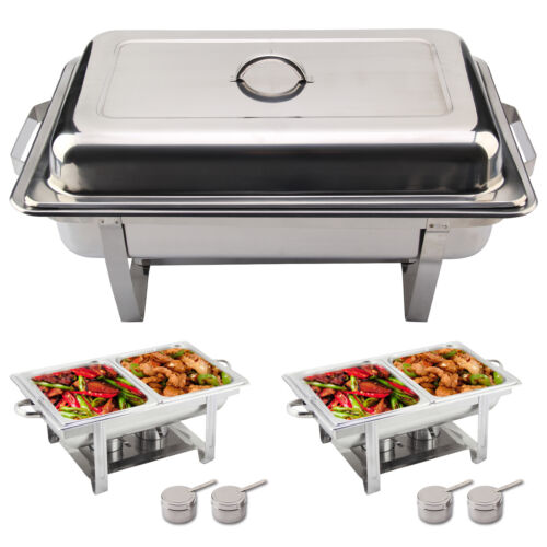 new 2 pack stainless steel chafing dish sets with 2 food pans fuel spoons uk ebay. Black Bedroom Furniture Sets. Home Design Ideas