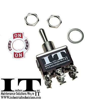 Industec 20a 125v Dpdt 6 Screw On Off On Toggle Switch Momentary 3 Pos 12v