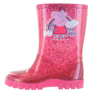 Girls Peppa Pig Pink Glitter Rainbow Wellies Wellington Boots UK Child 4 - 10 - Girls Pink Sparkle Boots