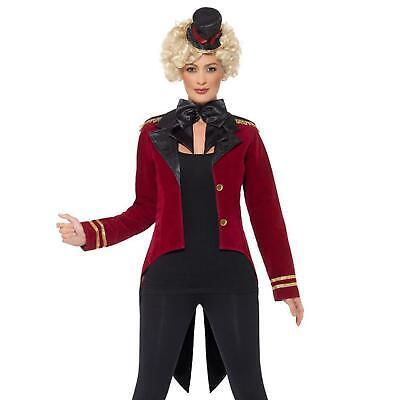 Damen Showman Zirkus Party Zirkusdirektor Kostüm Zubehör Satz Hut Jacke - Damen Zirkusdirektor Kostüm