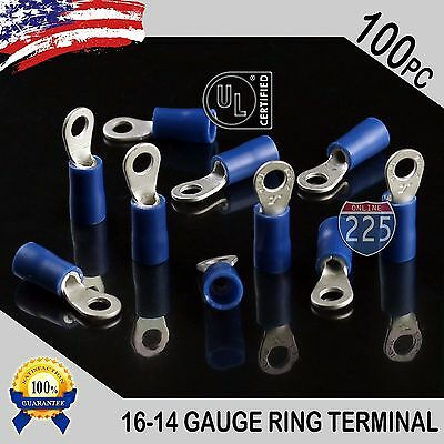 100 Pack 16-14 Gauge 6 Stud Insulated Vinyl Ring Terminals 100 Tin Copper Core