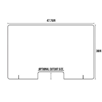 Acrylic Sneeze Guard 47.75x30 Clear Plastic Protection Barrier Cashier Counter D