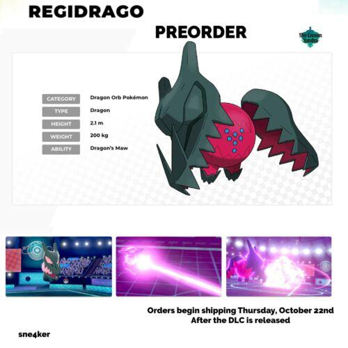 Pokemon Sword & Shield Regidrago   Crown Tundra Release!! 6 IVs