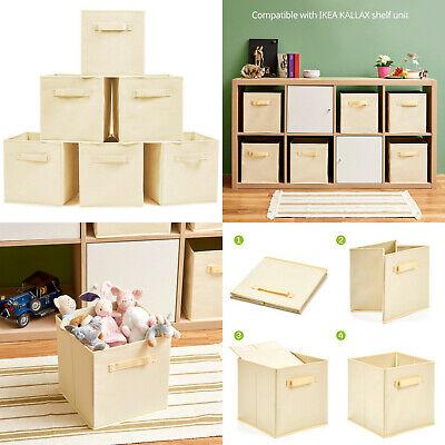 6 Cajas de Almacenaje plegables Beige 26,7 x 26,7 x 28 cm,...
