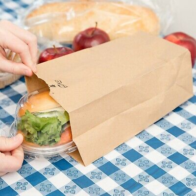(500-Pack) 4 lb. Brown Disposable Paper Grocery School Lunch Bags, Made in USA