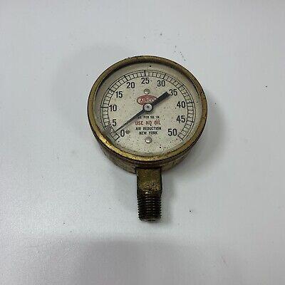 Vintage Airco 0-50 Psi Air Reduction Gauge New York Steam Punk