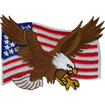 USA Flag Patch Iron Sew On American United States of America Eagle Biker Badge