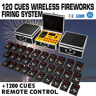 120 Cues Wireless Fireworks Firing System Remote Control Fire Control Equipment