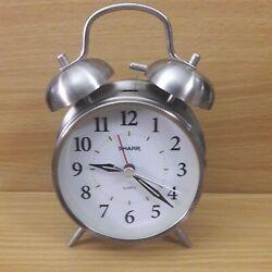 Sharp SPC 800 Analog Twin Bell Alarm Clock Quartz Silver Backlight LOUD Retro