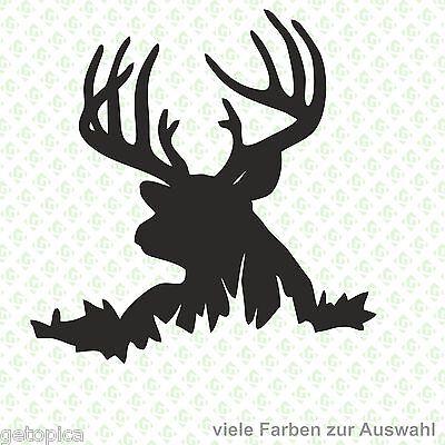 Hirsch Aufkleber Geweih Jäger Wild Jagd Autoaufkleber Sticker JDM 4782 (Auto Hirsch Geweih)