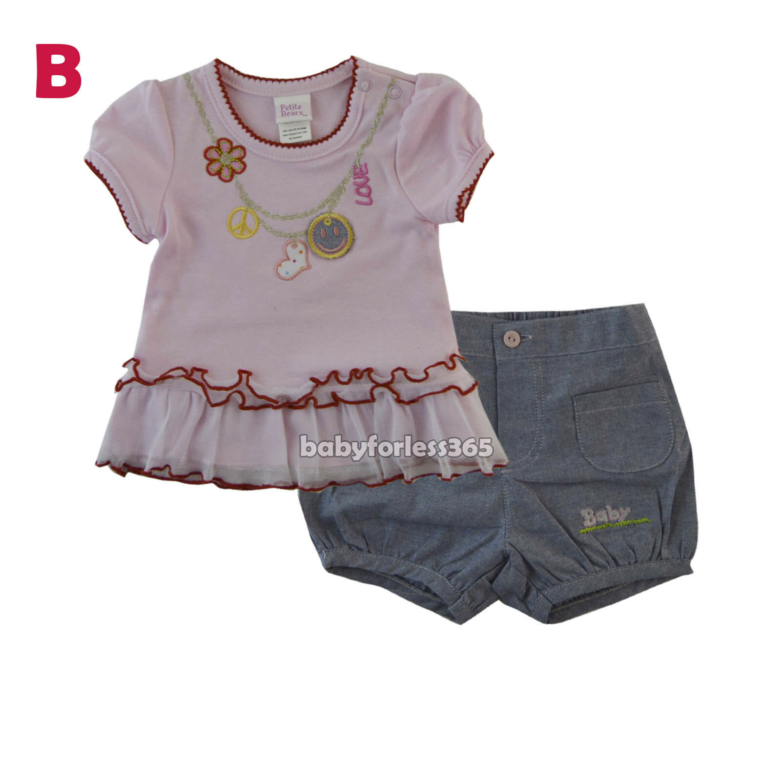d3a7e68f5 New Baby Girls Outfits Clothes 2 Pieces Shirt Shorts Size 3 6 9 12 ...