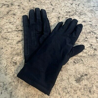 ARIS Navy Blue Spandex Leather Gloves Size OS Suede Leather Grips -