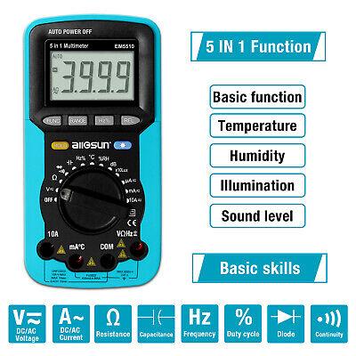 Digital Multimeter Illumination Detector Sound Level Humi.temp.tester 5 In 1