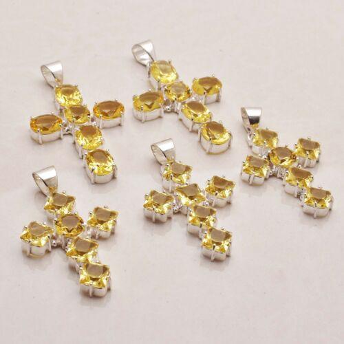 Citrine Gemstone Handmade 5 pcs Wholesale Lot Cross Pendant Jewelry Lot-834
