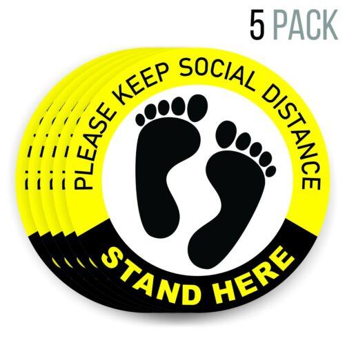 6 Feet Notice Floor Sign for Queues | Social Distancing Floor Decals for floor