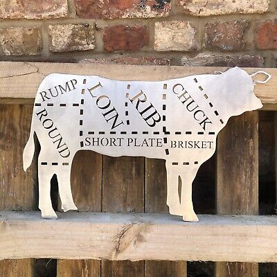 COW Sign Metal Home BBQ Kitchen rustic shabby chic butchers cuts Meat Shop Beef