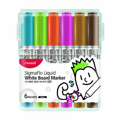 Monami Whiteboard Markers Liquid Direct Feed Bullet Tip 6 Color Set SigmaFlo B