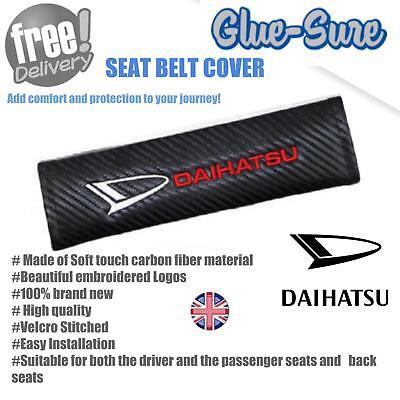 Carbon Fiber 3D Embroider Car Seat Belt Safety Shoulder Pad Cover For DAIHATSU