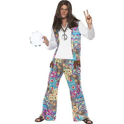 60s Groovy Hippie Floral Retro Flower Hippy Adults Mens Fancy Dress Costume - 60s Costume Men