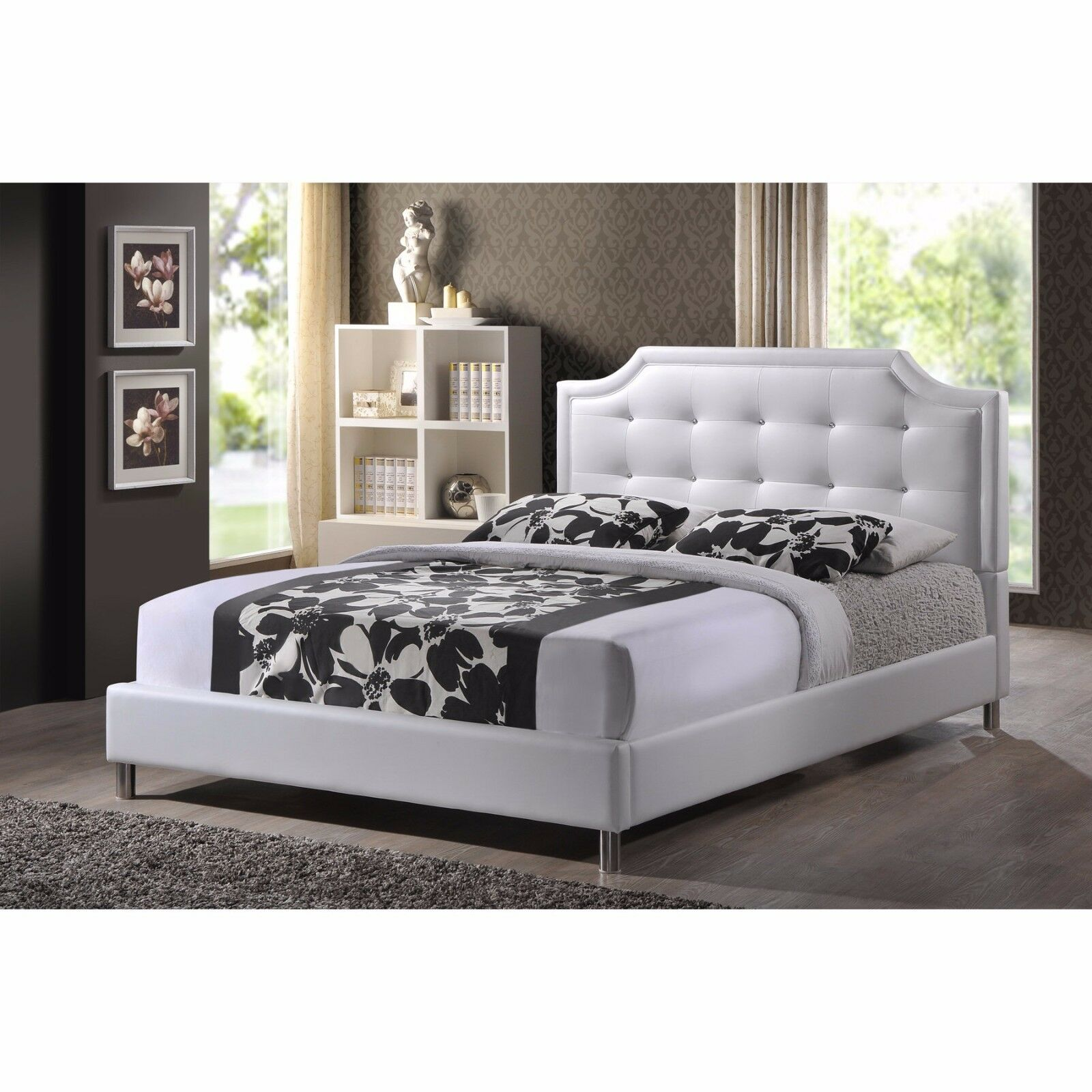 King Size Bed Frame Faux Leather Platform Upholstered Headbo