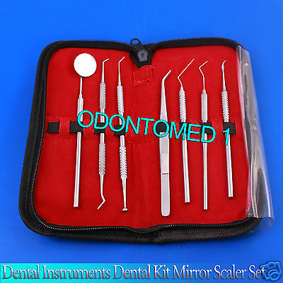 Dental Instruments Dental Kit Mirror Scaler Set 7pc Dentist Leather Case Pr-123