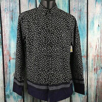 INC Men's Black Abstract Cheetah Print Long Sleeve Casual Button (Abstract Cheetah)