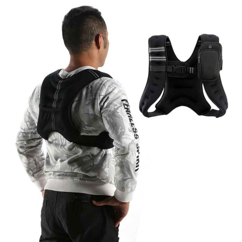 Black 12 lb. Adjustable Weighted Jacket Vest Fitness Trainin
