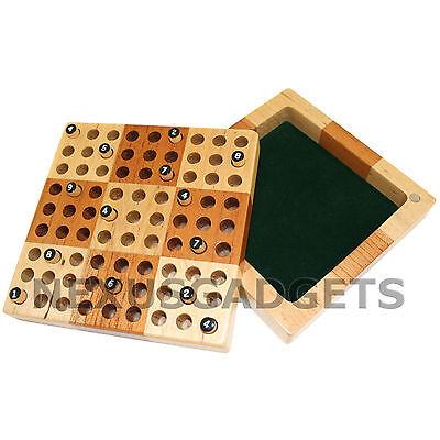 Sudoku Wood Board Game Set Wooden Peg Pieces Mini Travel Number Puzzles Suduko ()
