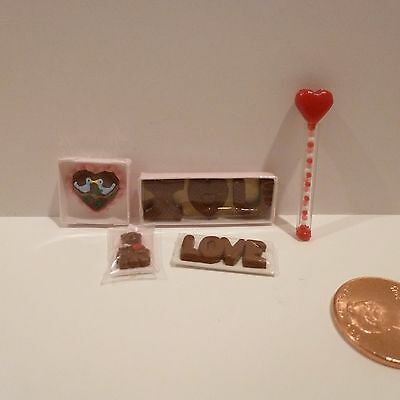 Miniature Chocolate Love  Heart Wand  I Love You  Heart W Birds  Valentine Bear