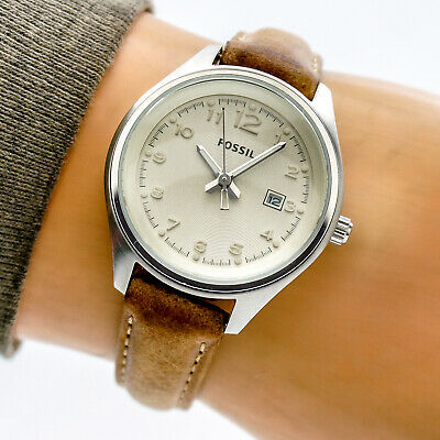 Fossil Womans Watch AM4377 Beige Date Dial Stainless Brown Leather 100m Working
