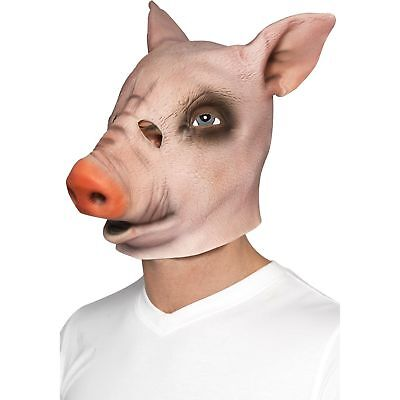 Full Over Head Pig Mask Farm Animal Halloween Mens Adults Fancy Dress Costume](Over Farm Halloween)
