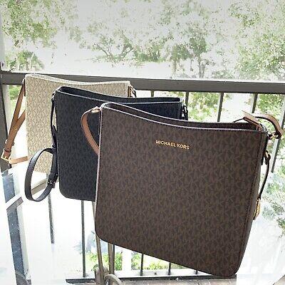Michael Kors Women Medium Large Brown Black Leather Messenger Bag Handbag Purse  Brown Womens Messenger Bag