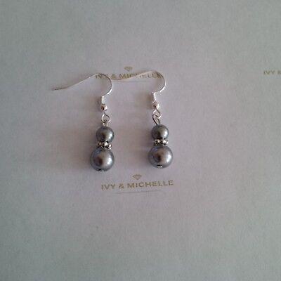 Glass Pearl Gray Earrings w/ Silver Tone Daisy Shape Bead