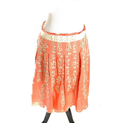 Elie Tahari Nude Pink Cotton Silk Boho Embroidered Floral Pleated Skirt 6 M $448