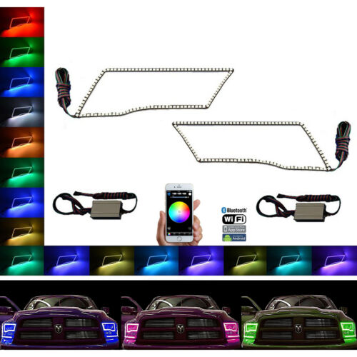 Multi-Color Shift LED Headlamp Halo Ring BLUETOOTH Set For 09-16 Dodge Ram Sport