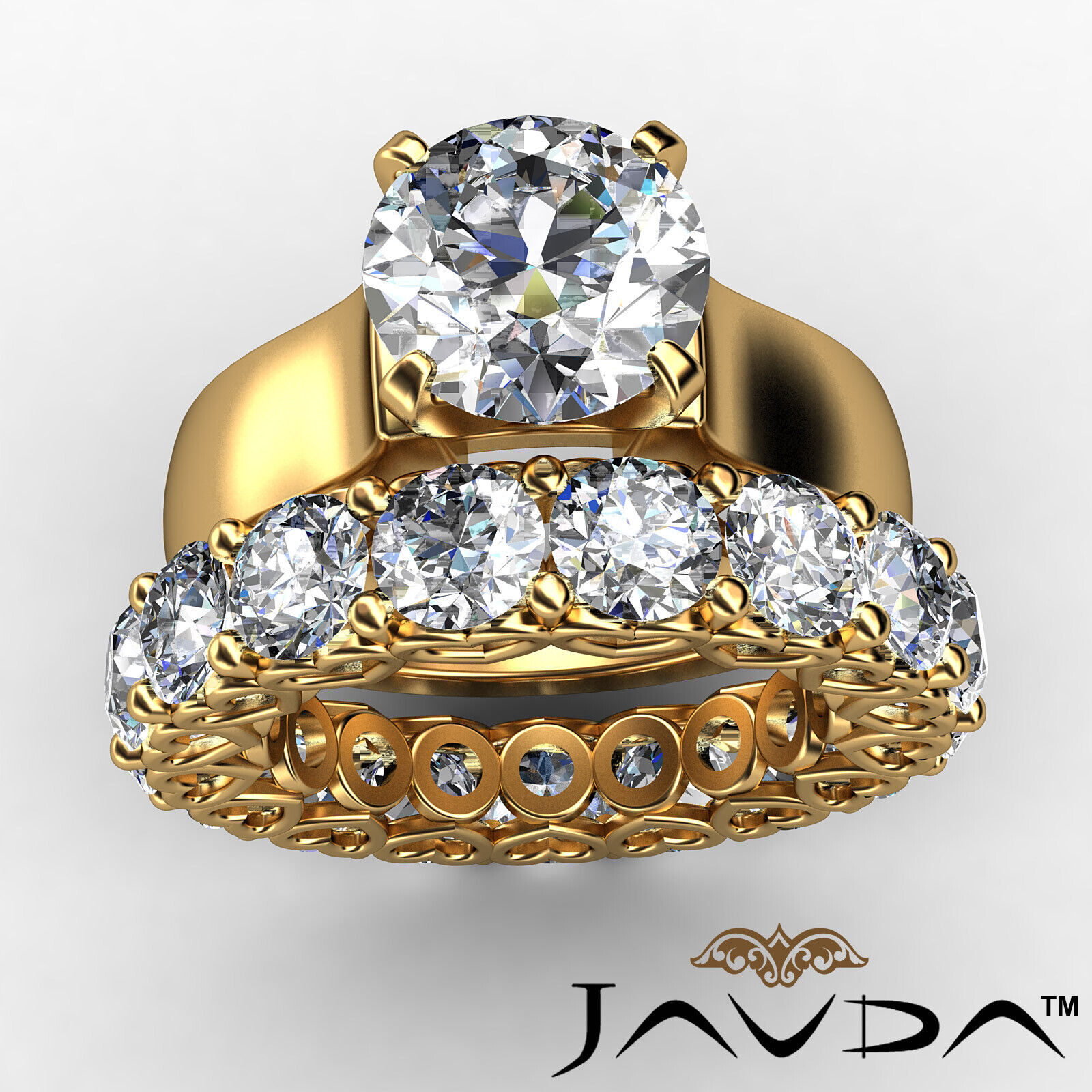 7.05Ct. Diamond Engagement Wedding Bridal Set Ring 14k Yellow Gold GIA Certified 2
