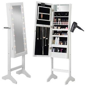 Beautify White Floor Standing Make Up Jewellery Organiser LED Mirror Cabinet