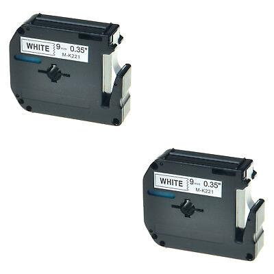 2pk For Brother P-touch Pt-45m Pt-80 Pt-90 M-221 Mk221 Black On White Label Tape
