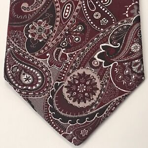 425bae9a6dc0 PRONTO UOMO Men's Tie Burgundy White Paisley 58L 3.75W EUC MINT Retail - $65