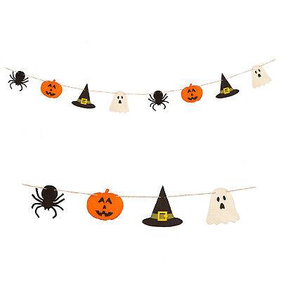 Bethany Lowe Ghost Witch Hat Pumpkin Retro Halloween Party Decor Felted Garland
