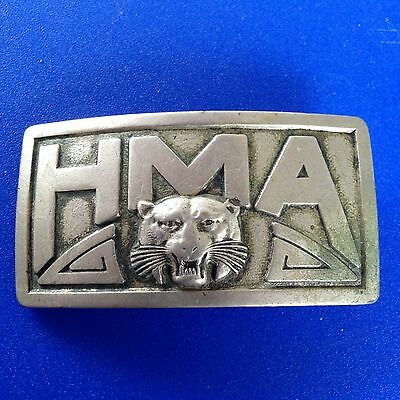 Rare Hargrave Military Academy Cadet Tigers Belt Buckle HMA Tigers Robbins Co.