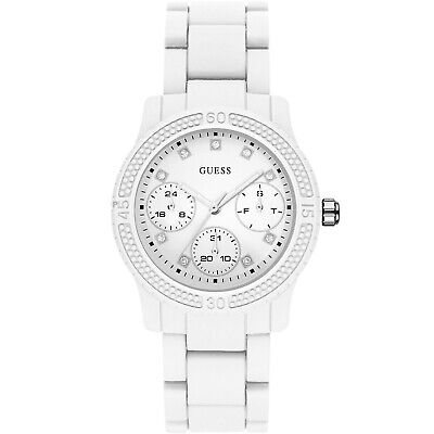 GUESS Funfetti Ladies Multifunction Watch, Day/Date, White Silicone, Crystals
